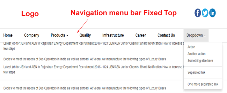 Responsive Bootstrap Navigation menu bar Fixed Top position in responsive templates
