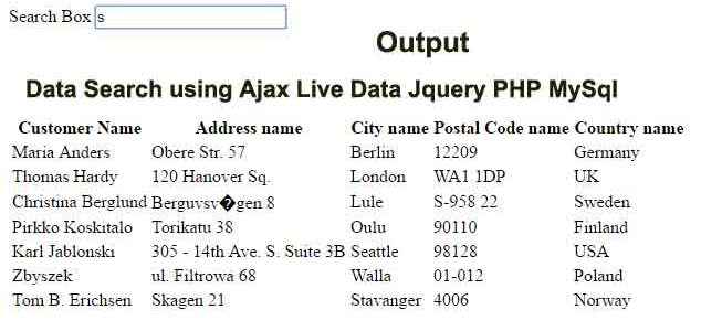 Text Search using Ajax Live Data Jquery PHP MySql