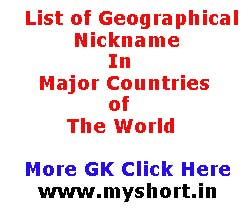 Geographical Nicknames In Major Countries