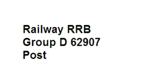 Railway RRB Group D 62907 post