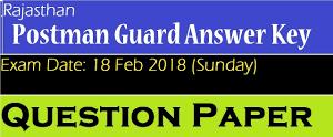 Rajasthan Postman Exam Answer Key Sunday 18-Feb, 2018