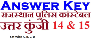 Rajasthan Police Answer Key 2018 set wise A, B, C, D