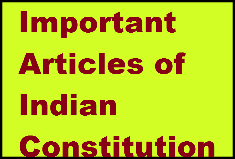 Important Indian Constitution Articles
