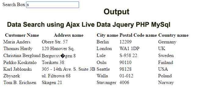 Text Search using Ajax Live Data Jquery PHP MySql