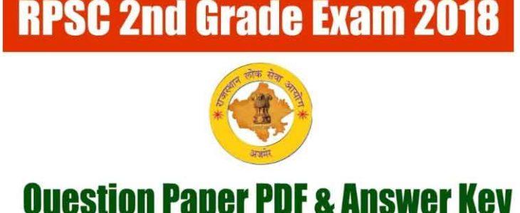 RPSC 2nd Grade Answer Key 2018 Question Paper PDF Download set wise