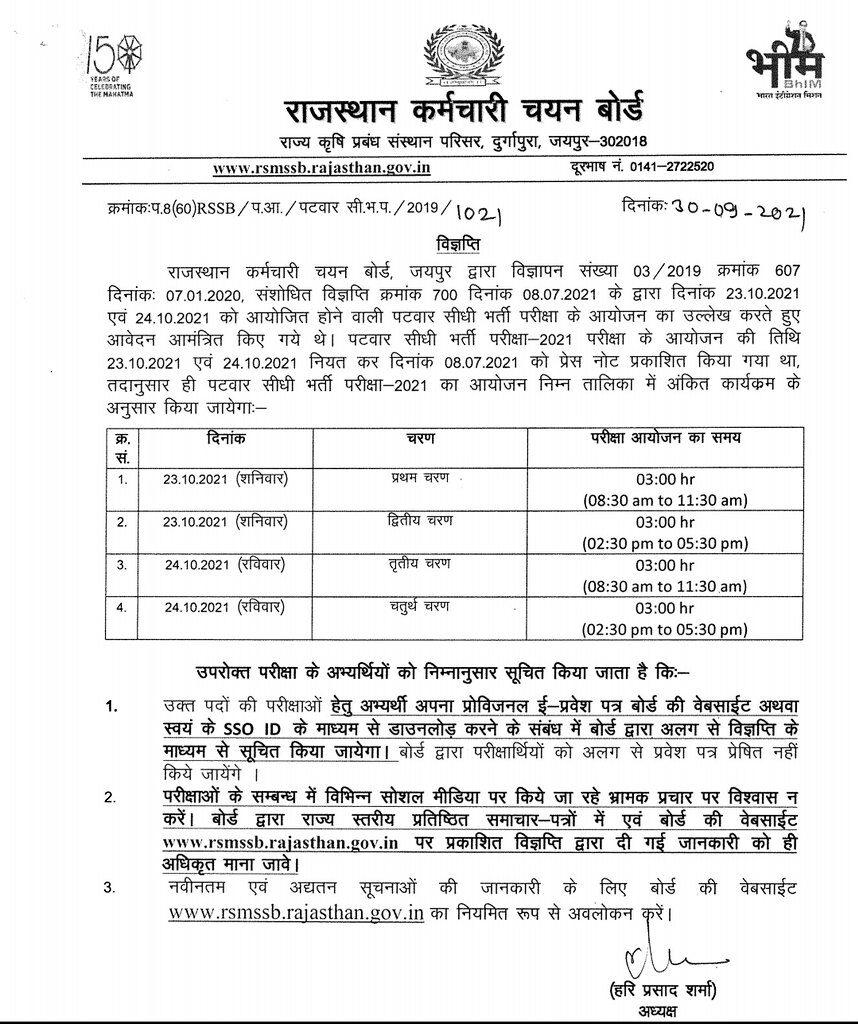 Rajasthan RSMSSB Patwari exam date 2021 announced, check here